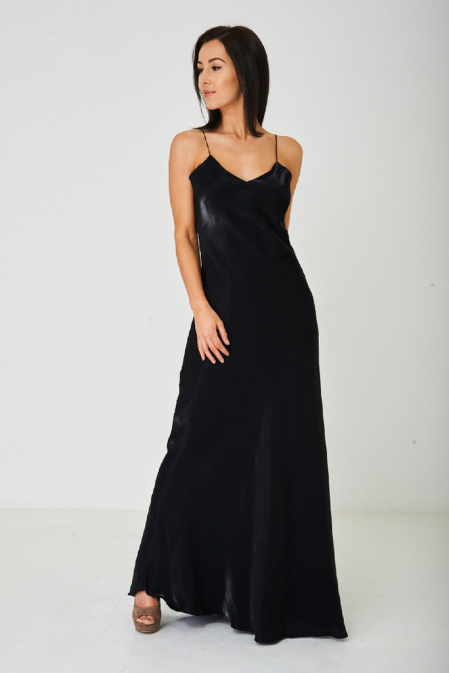Black Satin Fishtail Maxi Dress-Fabulous Bargains Galore