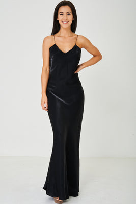 Black Satin Fishtail Maxi Dress - Fabulous Bargains Galore