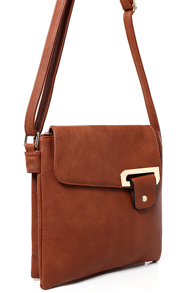 Double Compartment Cross Body Bag in Camel-Fabulous Bargains Galore
