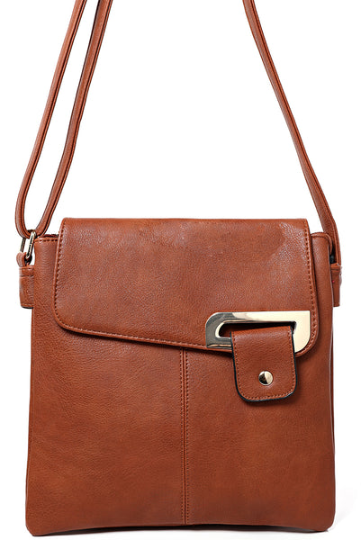Double Compartment Cross Body Bag in Camel