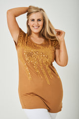 PLUS SIZE Caramel Top in Gold Sequin