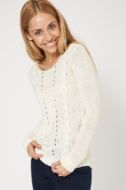 Lovely Crochet Cable Knit Cream Jumper Ex-Branded-Fabulous Bargains Galore