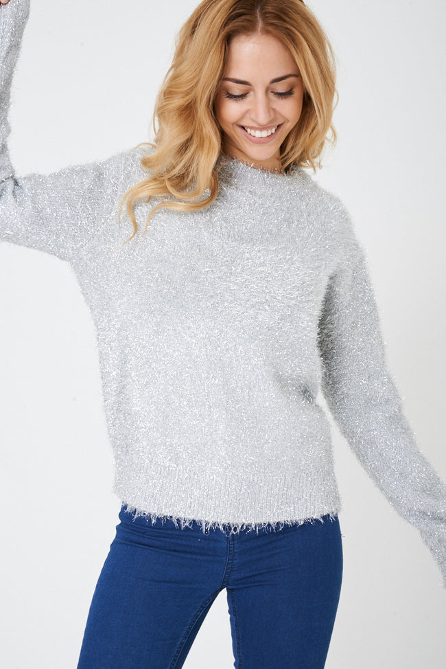 Fluffy Knit Jumper in Grey Ex Brand-Fabulous Bargains Galore