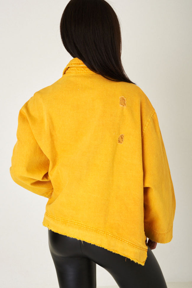 Oversized Jacket with Distress Detail in Light Yellow Ex Brand-Fabulous Bargains Galore