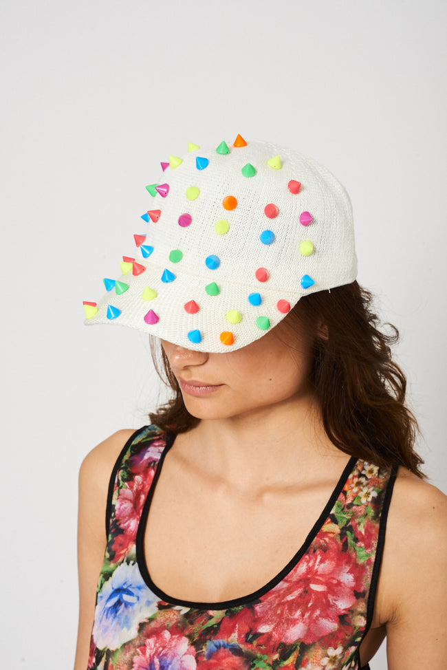 Cream Hat With Colourful Spikes-Fabulous Bargains Galore