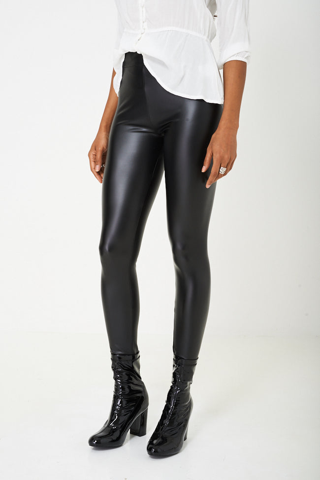 Leather Look Legging in Black-Fabulous Bargains Galore