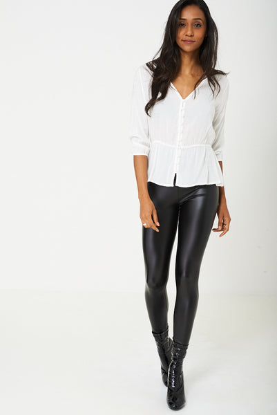 Leather Look Legging in Black
