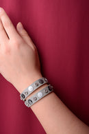 Vintage Inspired Leather Grey Bracelet-Fabulous Bargains Galore