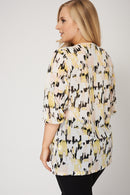Top With Abstract Print And Neck Tie-Fabulous Bargains Galore