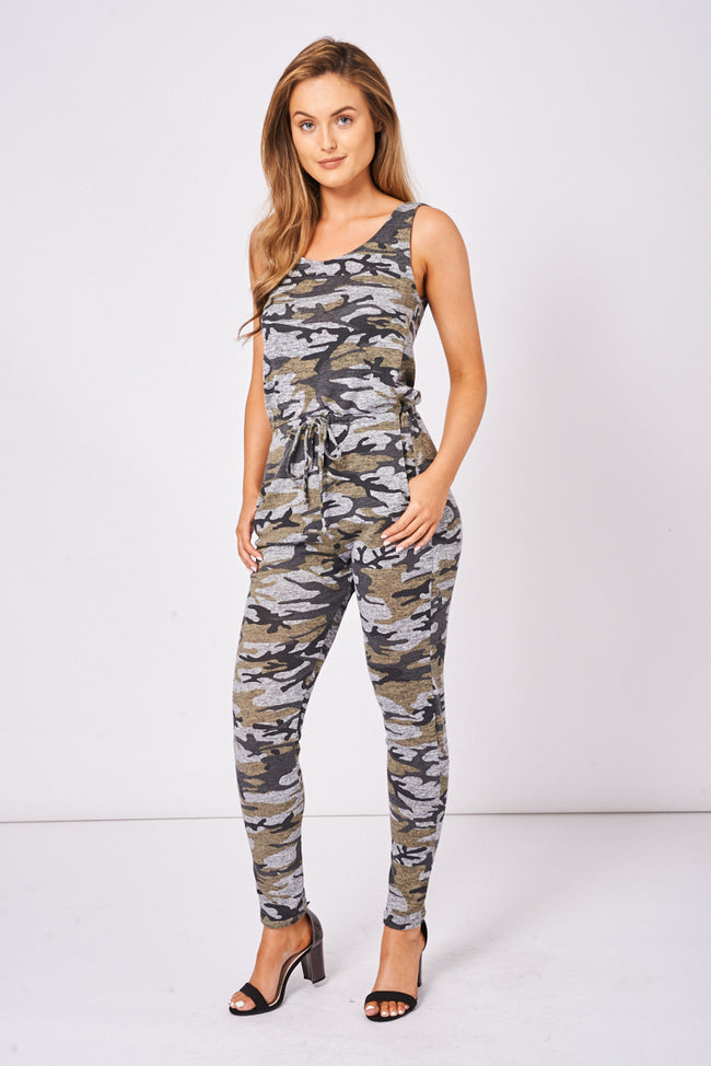 Camouflage Print Skinny Jumpsuit Ex-Branded-Fabulous Bargains Galore