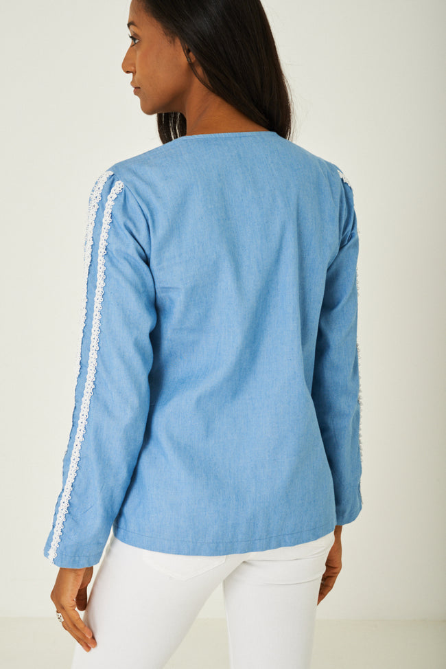 Blue Denim Jacket with Embroidery Detail-Fabulous Bargains Galore