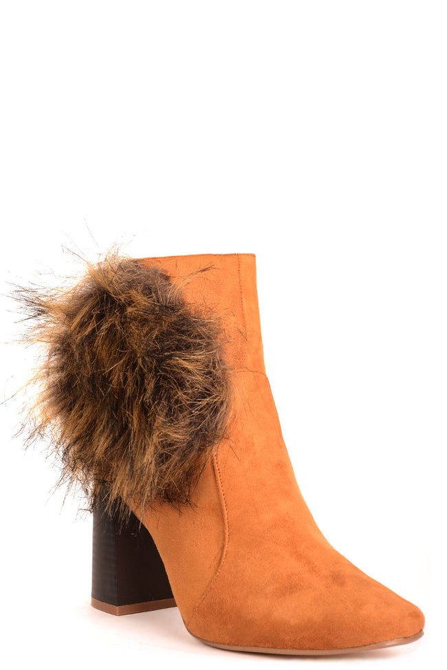 Camel Faux Suede Ankle Boots with Pom Pom Detail-Fabulous Bargains Galore