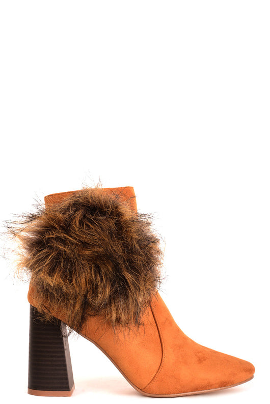 Camel Faux Suede Ankle Boots with Pom Pom Detail - Fabulous Bargains Galore