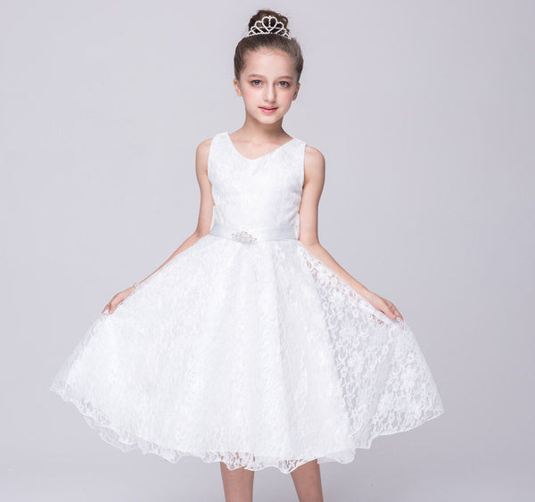 Stunning Lace Sleeveless Party Dress for Girls