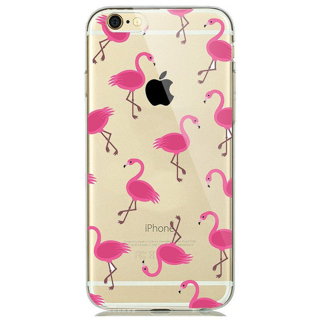 Flamingo Print Soft Silicon Transparent iPhone 7 Case-Fabulous Bargains Galore