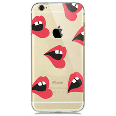 Red Lips Print Soft Silicon Transparent iPhone 7 Case