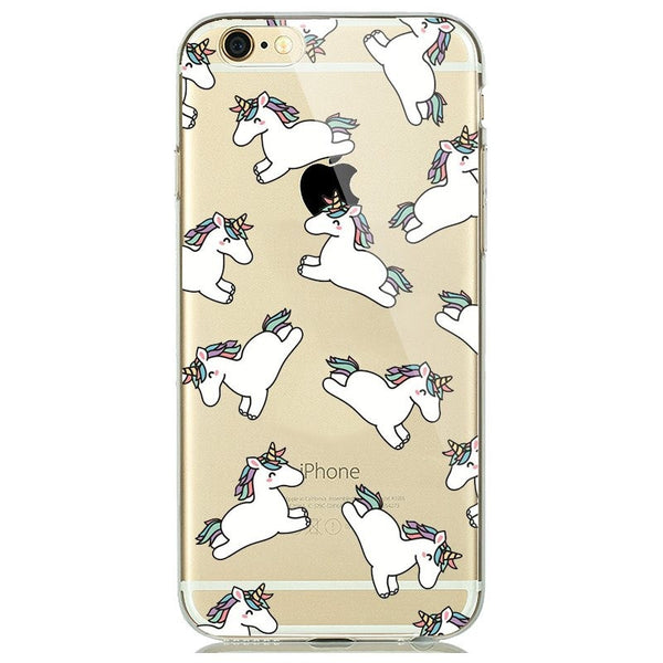 Unicorn Print Soft Silicon Transparent iPhone 7 Case