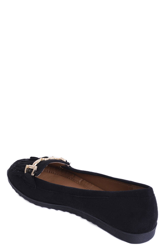 Tassel Flat Shoe in Black-Fabulous Bargains Galore