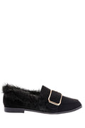 Black Fluffy Flat Shoe with Front Buckle Detail-Fabulous Bargains Galore