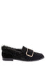 Black Fluffy Flat Shoe with Front Buckle Detail