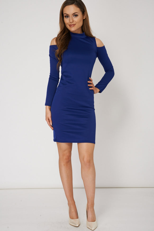 Cold Shoulder Dress In Blue Ex-Branded-Fabulous Bargains Galore