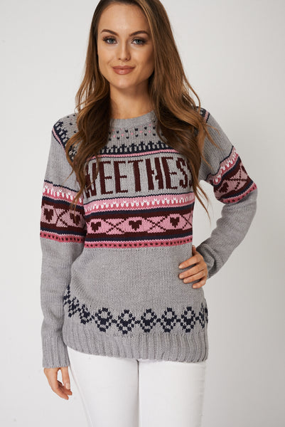 Contrast Knit Jumper With Sweethess Print