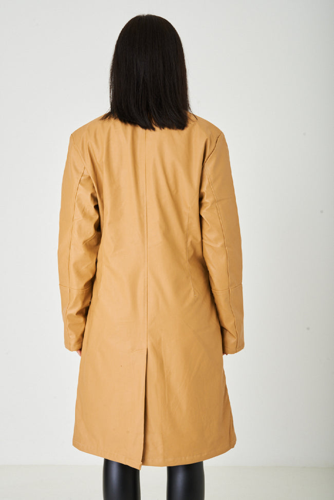 Long Faux Leather Jacket in Light Camel-Fabulous Bargains Galore