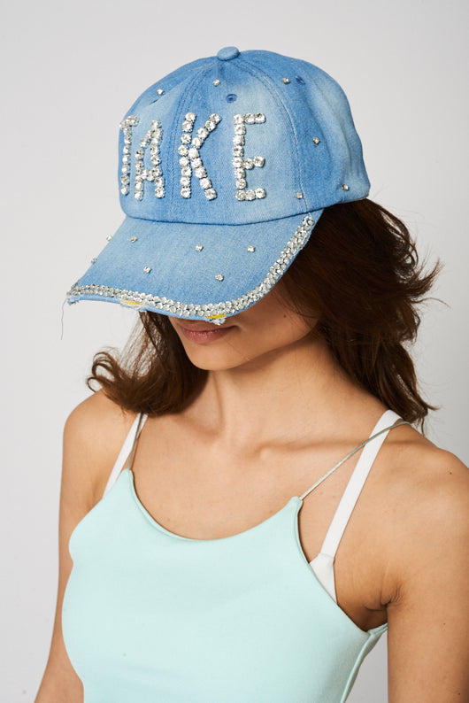 Denim Hat With Rhinestone Diamante Detail - Fabulous Bargains Galore