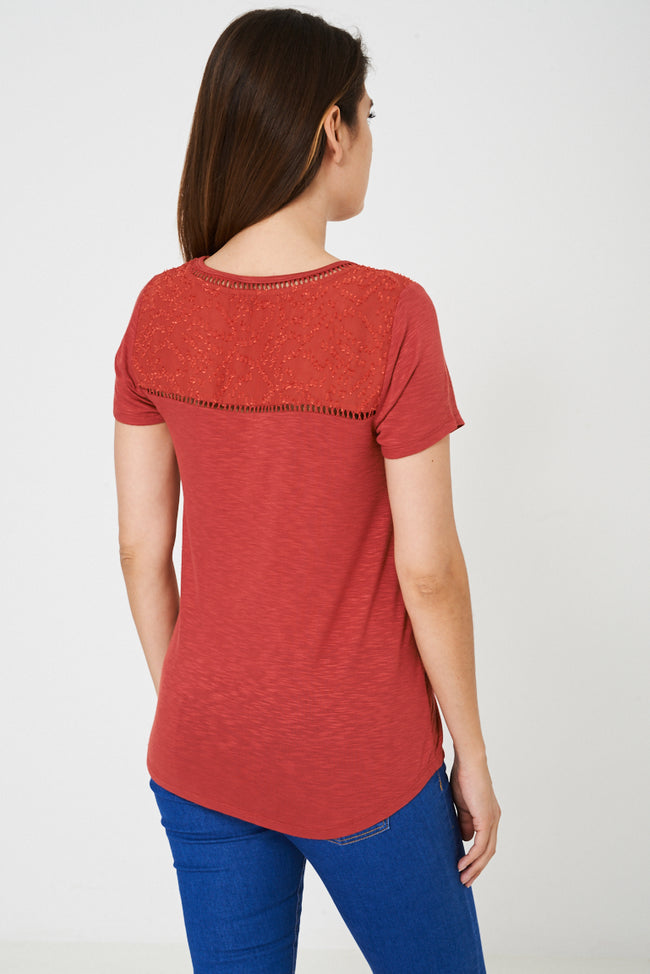 Broderie Detail Top in Orange-Fabulous Bargains Galore
