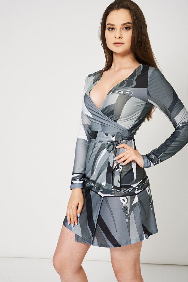 Grey Multi Tone Wrap Dress-Fabulous Bargains Galore