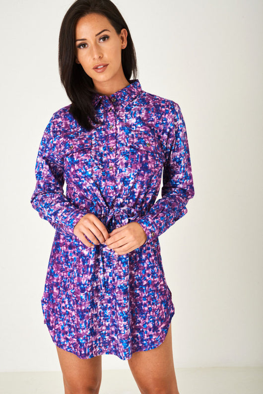 Multi Printed Shirt Dress-Fabulous Bargains Galore