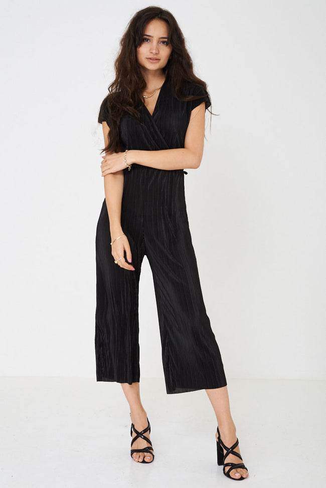 Wide Leg Pleated Jumpsuit in Black Ex Brand-Fabulous Bargains Galore