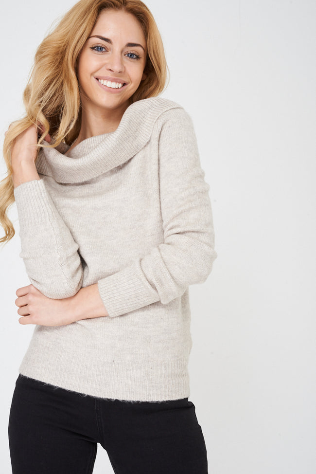 Cowl Neck Soft Knit Jumper in Beige-Fabulous Bargains Galore