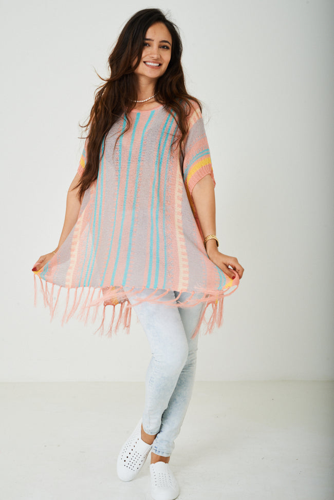 Knitted Tassel Hem Cover Up-Fabulous Bargains Galore