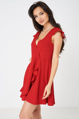 Wrap Front Red Skater Dress
