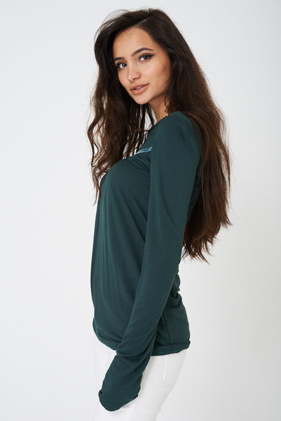 Forest Green Top with Rose Detail