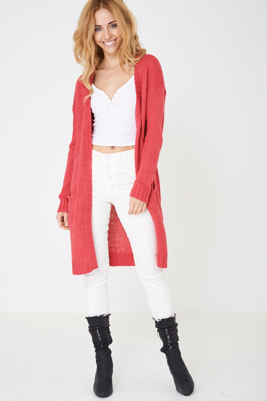 Pink Longline Chunky Knit Cardigan Ex Brand - Fabulous Bargains Galore