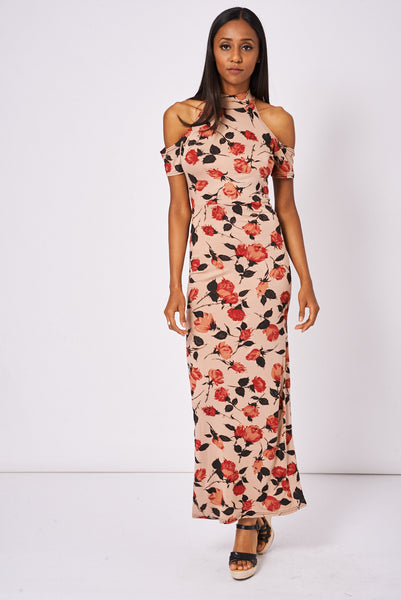 Floral Pattern Cold Shoulder Dress With Cut Out Back Detail