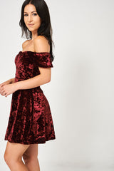 Crushed Velvet Off Shoulder Burgundy Dress Ex Brand