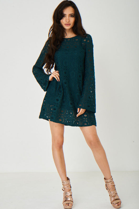 Green Lace Swing Dress Ex Brand-Fabulous Bargains Galore
