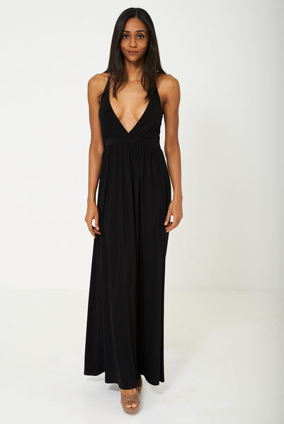 Deep Plunge Maxi Dress in Black