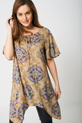 Printed Tunic Top with Moon Hemline-Fabulous Bargains Galore