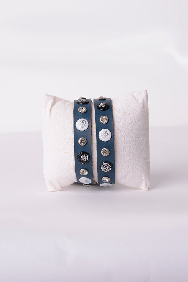 Leather Studded Bracelet in Blue-Fabulous Bargains Galore