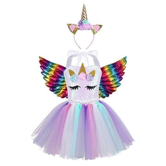 Unicorn party dress with fairy wings 2-12 year olds-Fabulous Bargains Galore