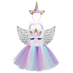 UNICORN PARTY DRESS WITH FAIRY WINGS - Fabulous Bargains Galore