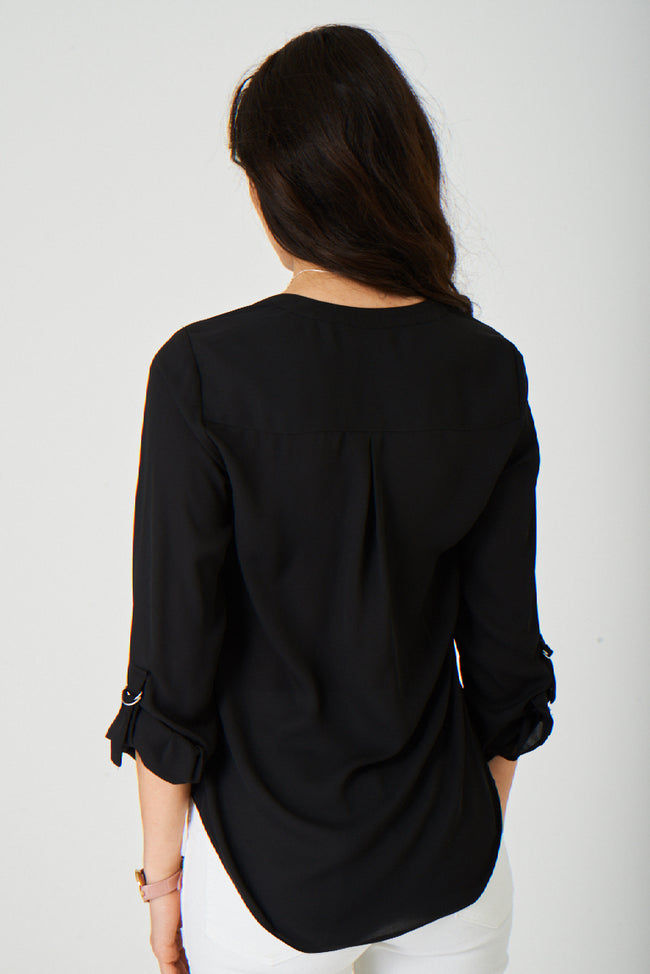 Black Chiffon Top Ex Brand-Fabulous Bargains Galore