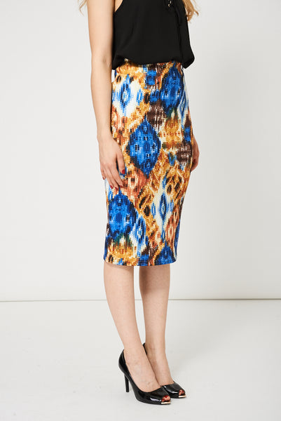 Scuba Pencil Skirt With Abstract Pattern Available In Plus Sizes