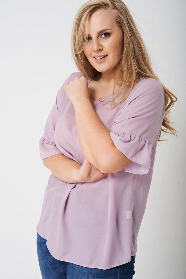 PLUS Frill Sleeve Top in Spring Lilac-Fabulous Bargains Galore