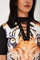 Tiger Print Dress with Choker Neck-Fabulous Bargains Galore