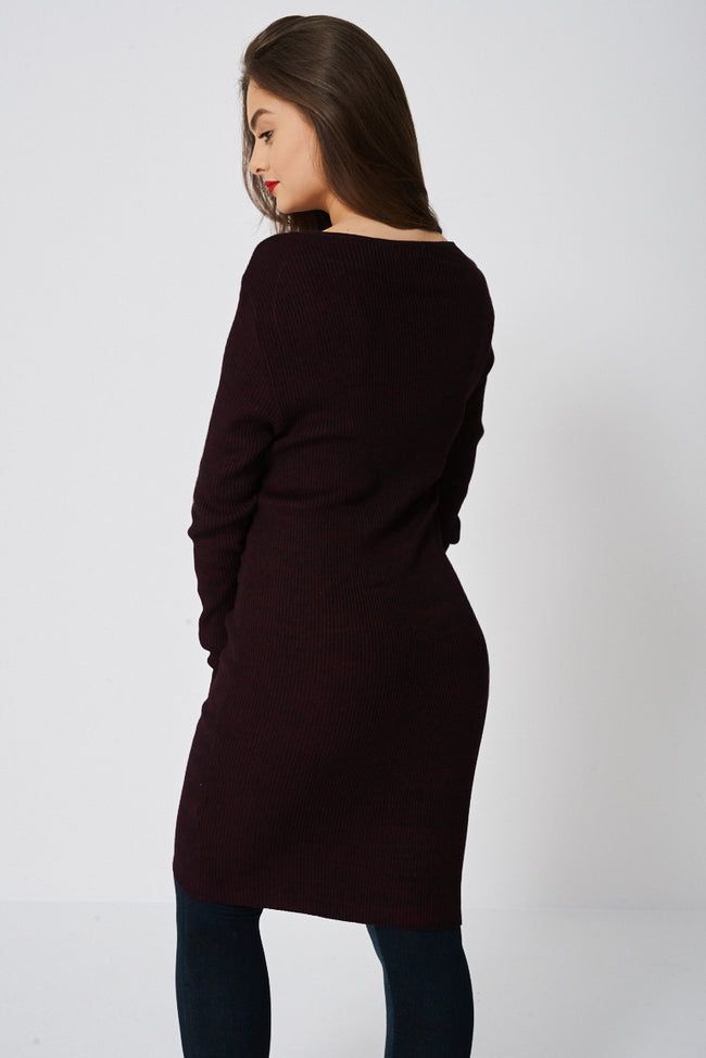 Jumper Dress In Burgundy Ex-Branded-Fabulous Bargains Galore